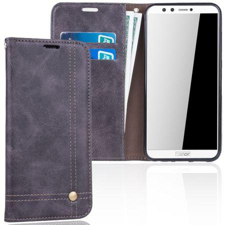 Handy Hülle Schutz Tasche für Huawei Honor 9 Lite Cover Wallet Etui Grau