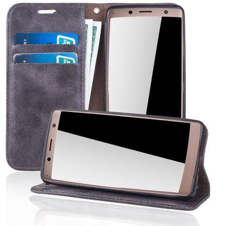 Handy Hülle Schutz Tasche für Sony Xperia XZ2 Cover Wallet Etui Grau – Bild 2