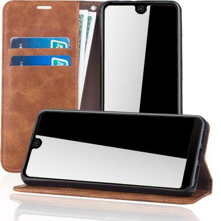 Handy Hülle Schutz Tasche für Wiko View 2 Cover Wallet Etui Braun – Bild 2
