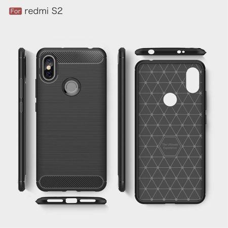 Xiaomi Redmi S2 / Y2 Hülle Silikon Grau Carbon Optik Case TPU Handyhülle Bumper – Bild 6