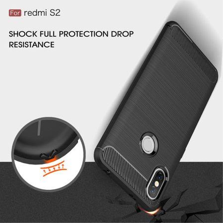 Xiaomi Redmi S2 / Y2 Hülle Silikon Grau Carbon Optik Case TPU Handyhülle Bumper – Bild 8
