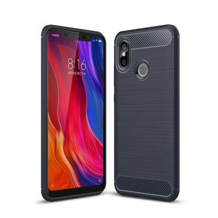 Xiaomi Mi 8 Hülle Silikon Blau Carbon Optik Case TPU Handyhülle Bumper