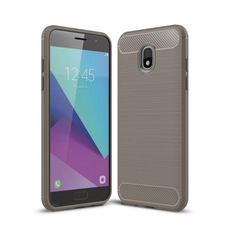 Samsung Galaxy J7 2018 Hülle Silikon Grau Carbon Optik Case TPU Handyhülle Bumper