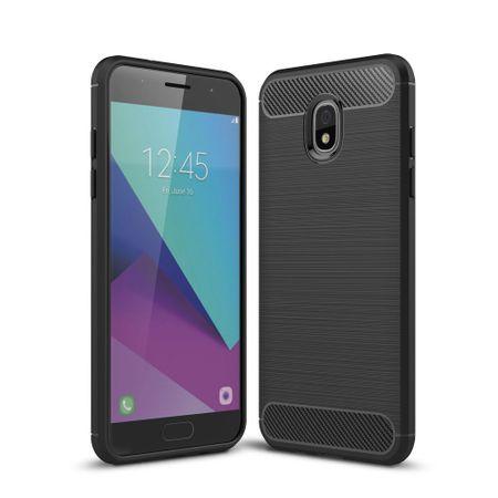 Samsung Galaxy J3 2018 Hülle Silikon Schwarz Carbon Optik Case TPU Handyhülle Bumper