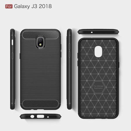 Samsung Galaxy J3 2018 Hülle Silikon Schwarz Carbon Optik Case TPU Handyhülle Bumper – Bild 6