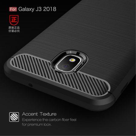 Samsung Galaxy J3 2018 Hülle Silikon Grau Carbon Optik Case TPU Handyhülle Bumper – Bild 7
