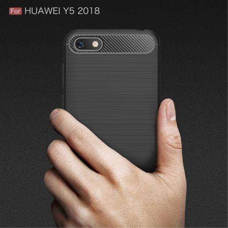 Huawei Y5 2018 Hülle Silikon Blau Carbon Optik Case TPU Handyhülle Bumper – Bild 7