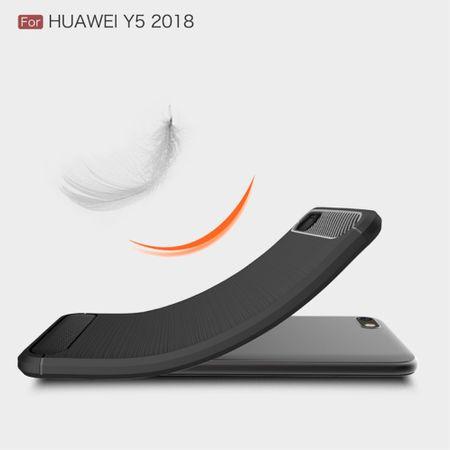 Huawei Y5 2018 Hülle Silikon Grau Carbon Optik Case TPU Handyhülle Bumper – Bild 3