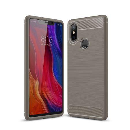 Xiaomi Mi 8 SE Hülle Silikon Grau Carbon Optik Case TPU Handyhülle Bumper