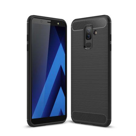 Samsung Galaxy J8 2018 Hülle Silikon Schwarz Carbon Optik Case TPU Handyhülle Bumper – Bild 1
