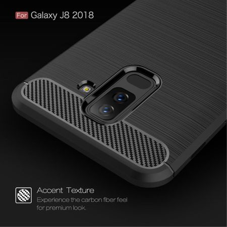 Samsung Galaxy J8 2018 Hülle Silikon Schwarz Carbon Optik Case TPU Handyhülle Bumper – Bild 7