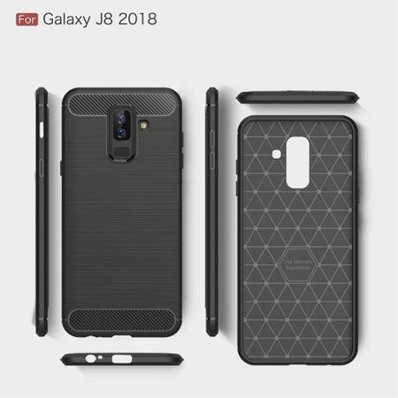 Samsung Galaxy J8 2018 Hülle Silikon Grau Carbon Optik Case TPU Handyhülle Bumper – Bild 6