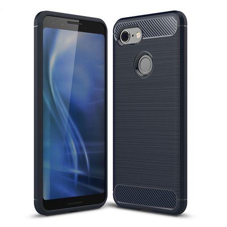 Google Pixel 3 Hülle Silikon Blau Carbon Optik Case TPU Handyhülle Bumper