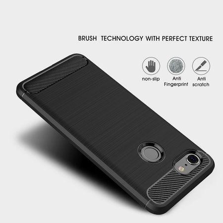 Google Pixel 3 Hülle Silikon Grau Carbon Optik Case TPU Handyhülle Bumper – Bild 3