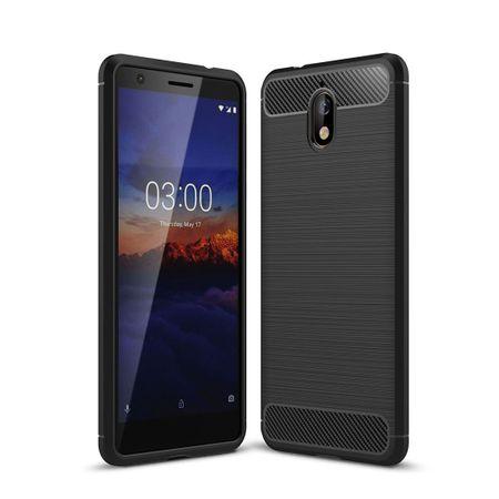 Nokia 3.1 Hülle Silikon Schwarz Carbon Optik Case TPU Handyhülle Bumper