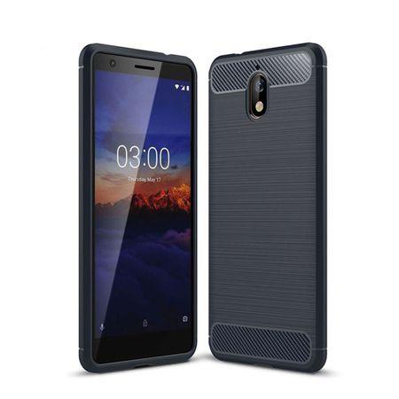 Nokia 3.1 Hülle Silikon Blau Carbon Optik Case TPU Handyhülle Bumper – Bild 2