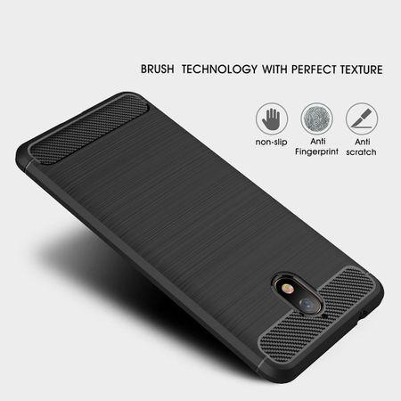 Nokia 3.1 Hülle Silikon Grau Carbon Optik Case TPU Handyhülle Bumper – Bild 3