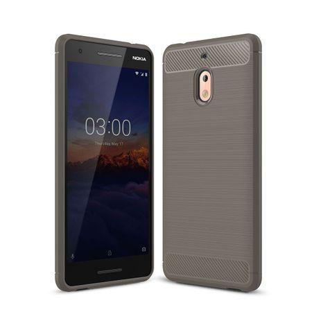 Nokia 2.1 Hülle Silikon Grau Carbon Optik Case TPU Handyhülle Bumper