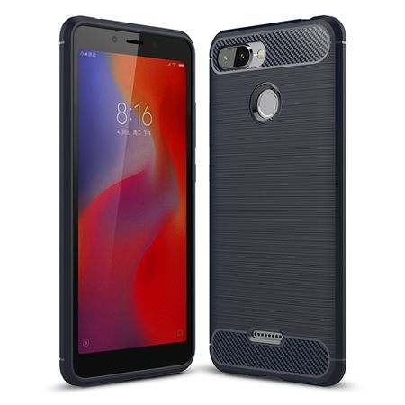Xiaomi Redmi 6 Hülle Silikon Blau Carbon Optik Case TPU Handyhülle Bumper