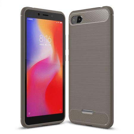 Xiaomi Redmi 6A Hülle Silikon Grau Carbon Optik Case TPU Handyhülle Bumper