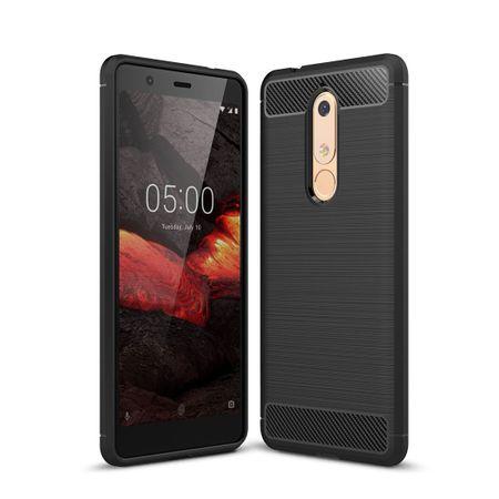 Nokia 5.1 Hülle Silikon Schwarz Carbon Optik Case TPU Handyhülle Bumper