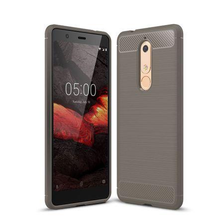 Nokia 5.1 Hülle Silikon Grau Carbon Optik Case TPU Handyhülle Bumper