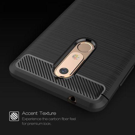 Nokia 5.1 Hülle Silikon Grau Carbon Optik Case TPU Handyhülle Bumper – Bild 4