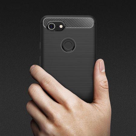 Google Pixel 3 XL Hülle Silikon Grau Carbon Optik Case TPU Handyhülle Bumper – Bild 8