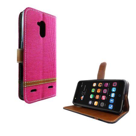 Tasche für ZTE Blade V7 Lite Jeans Cover Handy Schutz Hülle Case Pink – Bild 2