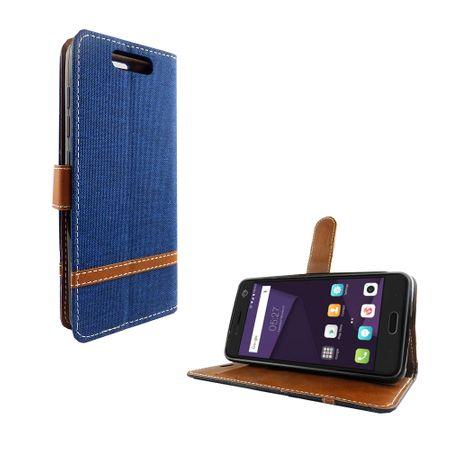 Tasche für ZTE Blade V8 Jeans Cover Handy Schutz Hülle Case Blau – Bild 2