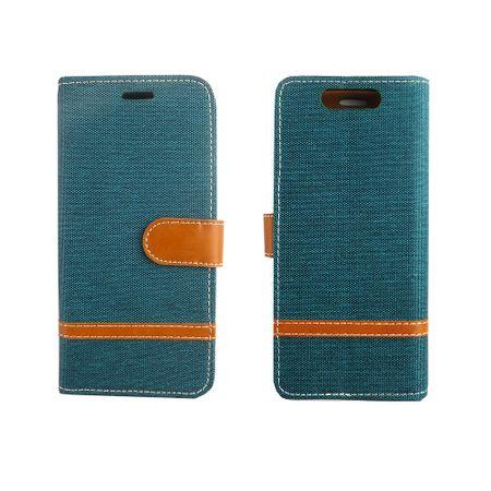 Tasche für ZTE Blade V8 Jeans Cover Handy Schutz Hülle Case Grün – Bild 3