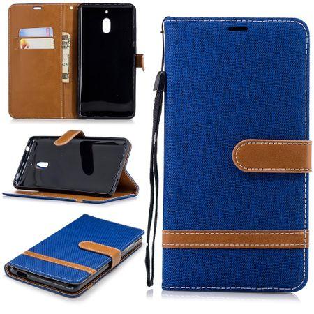 Tasche für Nokia 2.1 Jeans Cover Handy Schutz Hülle Case Blau