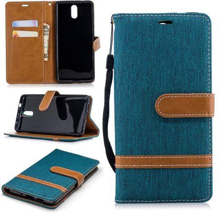 Tasche für Nokia 3.1 Jeans Cover Handy Schutz Hülle Case Grün