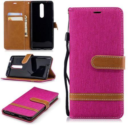 Tasche für Nokia 5.1 Jeans Cover Handy Schutz Hülle Case Pink