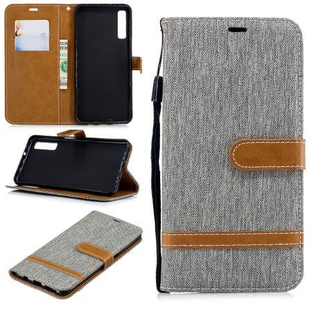 Tasche für Samsung Galaxy A7 2018 Jeans Cover Handy Schutz Hülle Case Grau