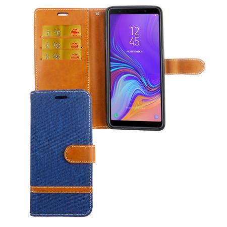 Tasche für Samsung Galaxy A9 2018 Jeans Cover Handy Schutz Hülle Case Blau
