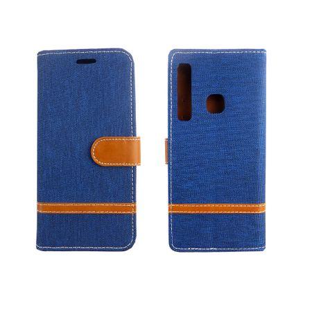 Tasche für Samsung Galaxy A9 2018 Jeans Cover Handy Schutz Hülle Case Blau – Bild 3