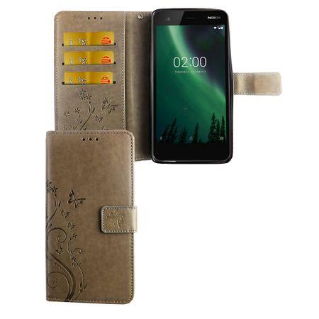 Handyhülle für Nokia 2.1 / Nokia 2 2018 Tasche Wallet Schutz Cover Etuis Grau