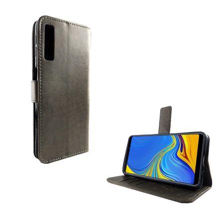 Schutz Hülle Blumen für Handy Samsung Galaxy A7 2018 Grau Wallet Cover Case – Bild 2