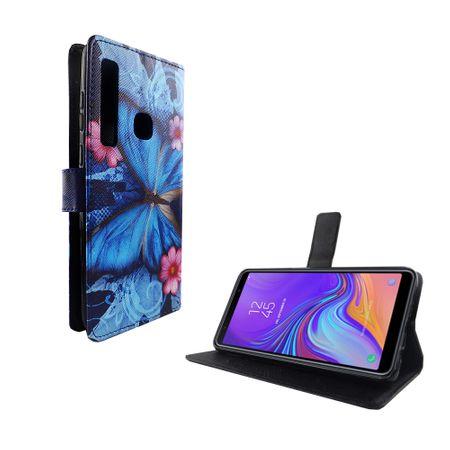 Samsung Galaxy A9 2018 Tasche Handy-Hülle Schutz-Cover Flip-Case mit Kartenfach  Blauer Schmetterling – Bild 5