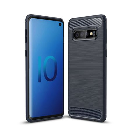 Samsung Galaxy S10 TPU Case Carbon Fiber Optik Brushed Schutz Hülle Blau