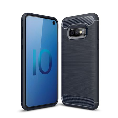 Samsung Galaxy S10e TPU Case Carbon Fiber Optik Brushed Schutz Hülle Blau