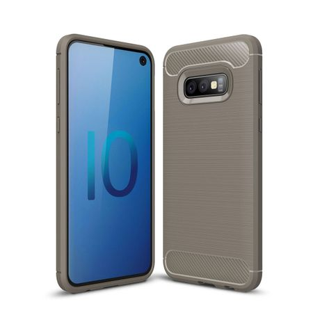 Samsung Galaxy S10e TPU Case Carbon Fiber Optik Brushed Schutz Hülle Grau