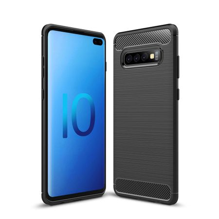Samsung Galaxy S10 Plus TPU Case Carbon Fiber Optik Brushed Schutz Hülle Schwarz
