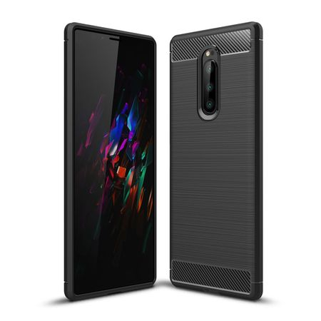 Sony Xperia XZ4 TPU Case Carbon Fiber Optik Brushed Schutz Hülle Schwarz
