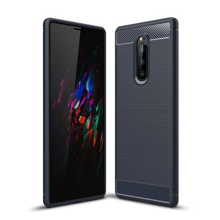 Sony Xperia XZ4 TPU Case Carbon Fiber Optik Brushed Schutz Hülle Blau