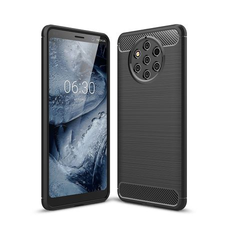 Nokia 9 Pure View TPU Case Carbon Fiber Optik Brushed Schutz Hülle Schwarz