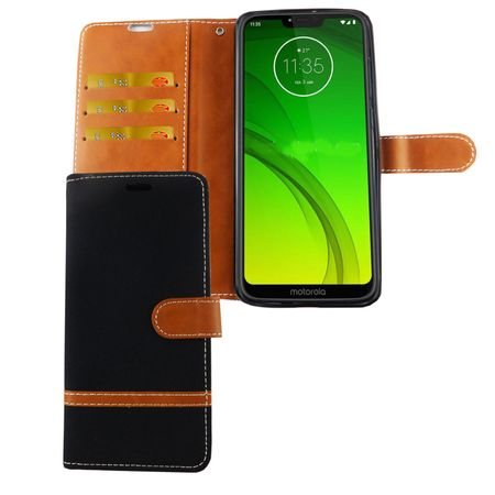 Motorola Moto G7 Handy-Hülle Schutz-Tasche Case Cover Kartenfach Etuis Schwarz