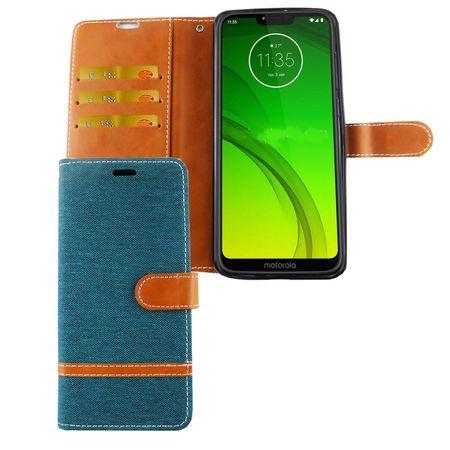 Motorola Moto G7 Handy-Hülle Schutz-Tasche Case Cover Kartenfach Etui Wallet Grün