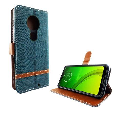 Motorola Moto G7 Handy-Hülle Schutz-Tasche Case Cover Kartenfach Etui Wallet Grün – Bild 2